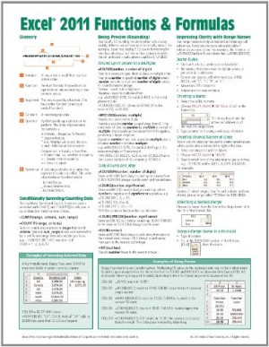 Excel 2011 for Mac: Functions & Formulas Quick Reference Guide (4-page Cheat Sheet focusing on examples and context for intermediate-to-advanced functions and formulas - Laminated Guide)