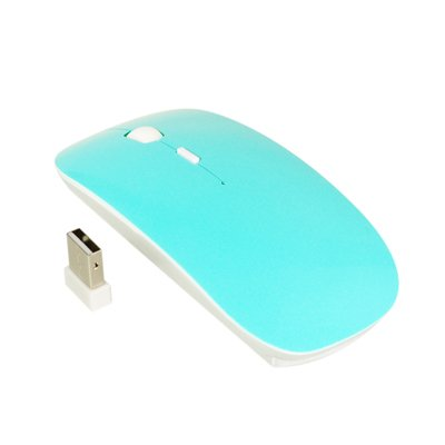 TopCase Turquoise Blue USB Optical Wireless Mouse for Macbook (pro,air) and All Laptop+ TopCase Mouse Pad