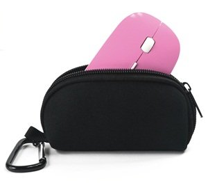 "Cosmos ® Pink 2.4G RF optical wireless USB mouse for macbook 13"" PRO AIR 11"" DELL ACER SONY HP TOSHIBA and Black Neoprene Magic Mouse Bag with Cosmos Fastening Strap"