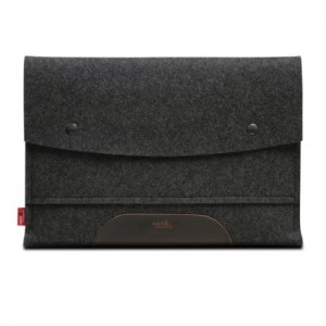 """MacBook Air 13"""" sleeve HAMPSHIRE Anthracite/Dark brown - 100 % Merino woolfelt and pure vegetable tanned leather - Made in Germany, Hamburg"""