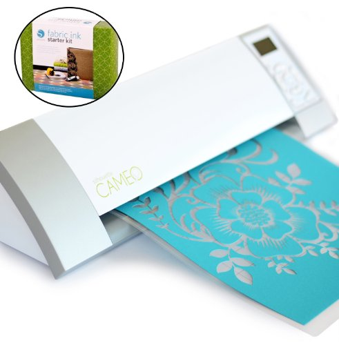 Silhouette Cameo Digital Craft Cutter Machine Printer for PC or MAC - Includes 51 exclusive cuttable designs and a $10 gift card to Silhouette Online Store - With a BONUS Silhouette Fabric Ink Starter Kit