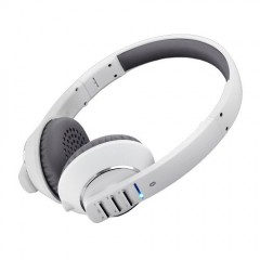 MEElectronics Air Fi Runaway Bluetooth Stereo Wireless Headphones with Microphone (White/Grey)