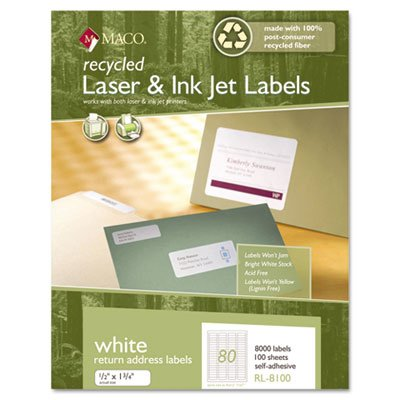 New-Maco RL8100 - Recycled Laser and InkJet Labels, 1/2 x 1-3/4, White, 8000/Box - MACRL8100