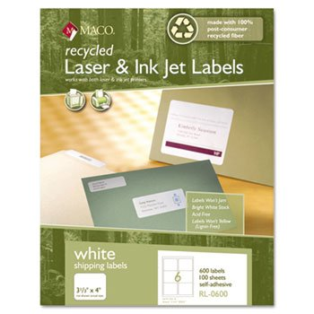 New-Maco RL0600 - Recycled Laser and InkJet Labels, 3-1/3 x 4, White, 600/Box - MACRL0600
