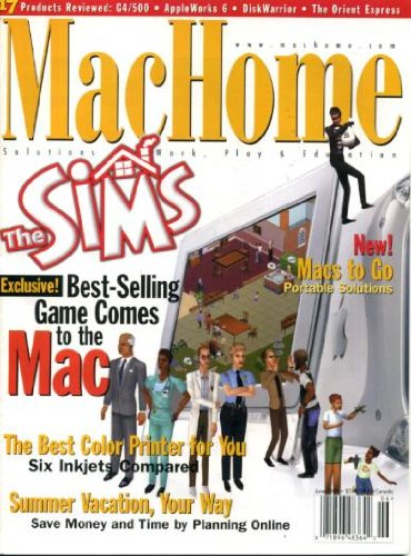 MacHome June 2000 The Sims, Best Color Printers, Mac G4/500, AppleWorks 6, Programming with REALbasic